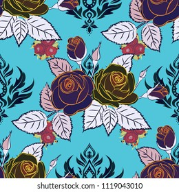 Gray and blue roses pattern. Hand drawn rose flowers. Flower pattern with roses. Vintage flower seamless pattern. Vector floral sketch.