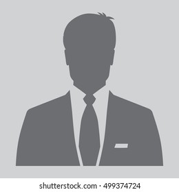 Gray businessman icon, men's avatar
