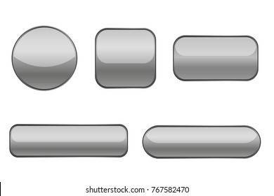 Gray buttons. Collection of matted shaped signs. Vector illustration isolated on white background