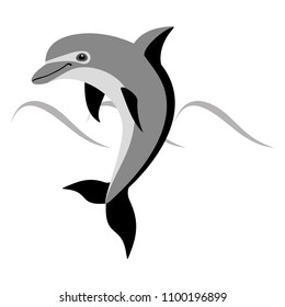 Gray cartoon Dolphin. Isolated object on white background. Vector