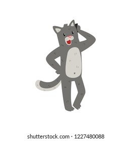 Gray cat standing and talking on the phone, cute animal cartoon character with modern gadget vector Illustration on a white background