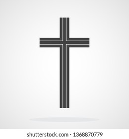 Gray Christian cross icon in flat design. Vector illustration. Abstract Christian cross.