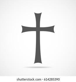 Gray Christian cross icon. Simple Christian cross on light background. Vector illustration.