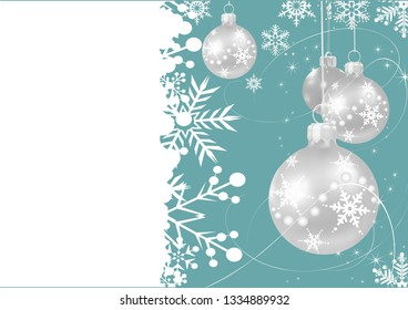Gray Christmas balls on a green background. Retro style. Christmas card for your design. Vector illustration