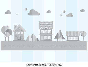 gray city on a blue background