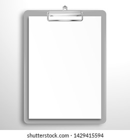 Gray clipboard with a blank white sheet of paper. Mockup for design