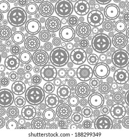 Gray cogwheels on the white background. Vector seamless pattern.