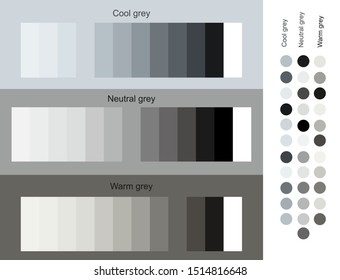 Gray color tones trend 2019 set. Cool, neutral, warm grey set smooth gradient from light to dark. Unique color palettes for designers and architects. Design of interior, fashion harmony solutions.