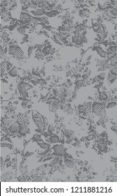 gray colored animal skins, snake skin mixed flowers pattern
