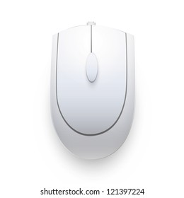 Gray computer mouse on white background. Vector design.