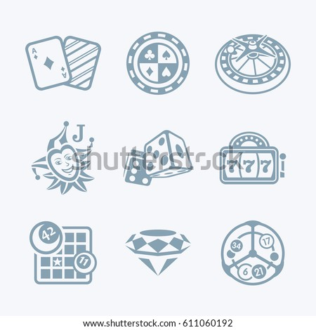 Gray contour icons for online casino