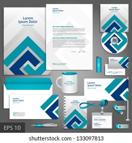 Gray corporate identity template with blue elements. Vector company style for brandbook and guideline. EPS 10