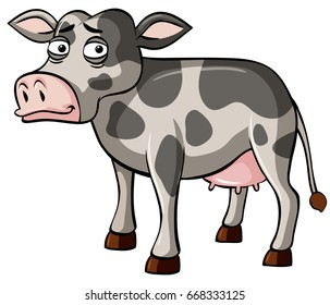 Gray cow with sad face illustration