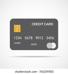 Gray Credit Card isolated. Vector illustration. Bank credit card in flat design.