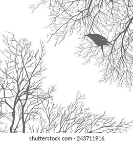 Gray crow on a tree branch. All elements can be painted and used separately.