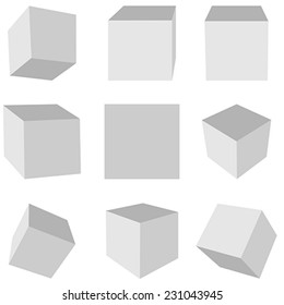 Gray cubes on a white background in different planes
