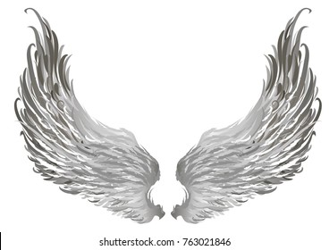 Gray decorative wings. Angel silver wings. Vector illustration.