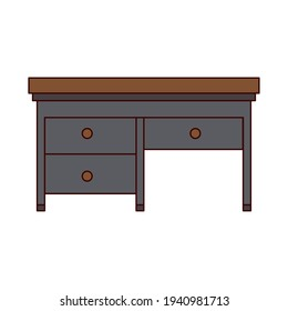 gray desk with three drawers
