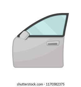 Gray door of motor car with blue glass and rear view mirror. Auto parts theme. Flat vector for poster of automobile service