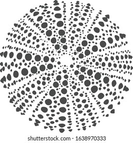 Gray Dotted Silhouette of a Sea Urchin