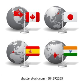 Gray Earth globes with designation of Canada, Japan, Spain and India location, with state flags. Vector illustration
