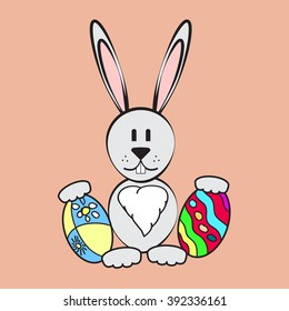 Gray easter rabbit. Easter Bunny with two easter eggs.