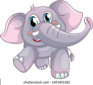 Gray elephant on white background illustration