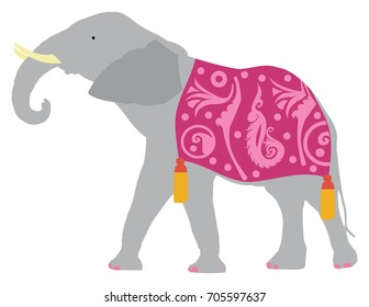 Gray Elephant wearing a purple blanket