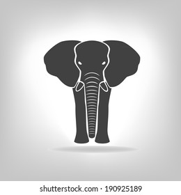 gray emblem of an elephant on a light background. Logo design for the company.