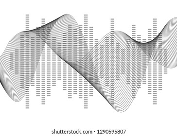 Gray equalizer isolated on white background. Vector illustration. Pulse music player. Audio wave logo. Vector design element Poster of the sound wave template visualization signal Illustration eps 10