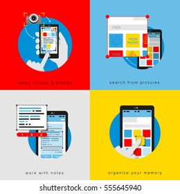 Gray Flat vector illustration infographics with phone and hand. Use your phone to the maximum: take screen and photos, search from pictures, work with notes, organize your memory.