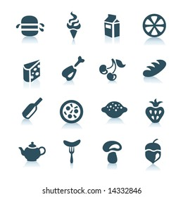 Gray food icons with shadows, part 1