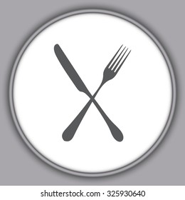 Gray fork and knife - illustration