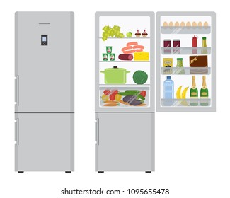 Gray fridge with open doors, a full of food: champagne bottles, a box of chocolates, a water bottle, a sausage, bananas, eggs, ketchup, vegetables and fruits in the picture. Vector