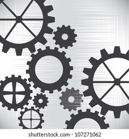 gray gears over silver background. vector illustration