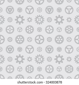 Gray gears seamless pattern against the light-gray background. The layout is fully editable