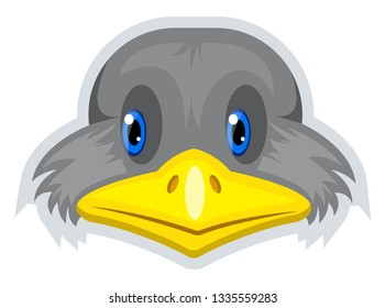 A gray geese with yellow nose and blue eyes, vector, color drawing or illustration.