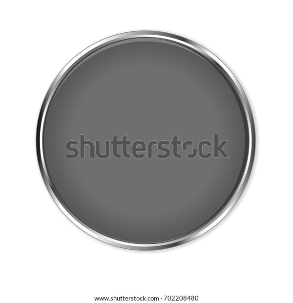 Gray glass button isolated on a white background