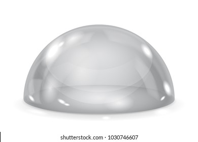 Gray glass dome. Shiny transparent semi sphere. Vector 3d illustration isolated on white background