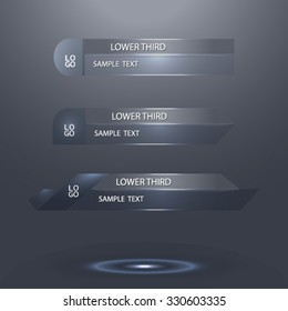 gray glass lower third - vector illustration