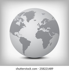 Gray globe icon with soft shadow on light gray background.