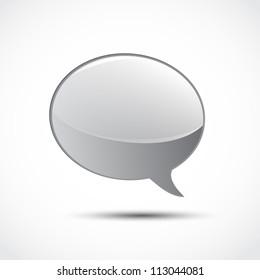 Gray glossy word speech on white