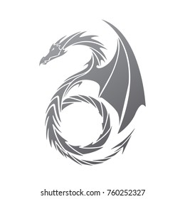 gray gradient dragon in tattoo style on a white background