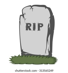A gray gravestone with grass and RIP text