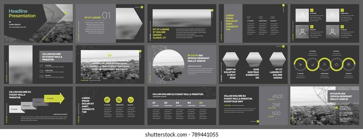 Gray and green infographics elements on a dark background. Vector Presentation templates. Use in presentation, flyer and leaflet, corporate report, marketing, advertising, annual report, banner.