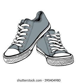 Gray gym shoes - by hand the drawn illustration. Vector art.