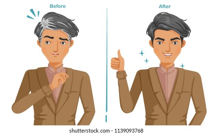Gray hair of man In brown suit. Feeling unconvincing and then confident. Difference of premature gray hair and good hair health. Illustrations for hair coloring and products. Vector isolated.