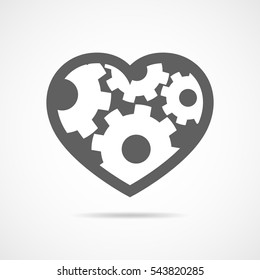 Gray heart with cogwheels. Abstract mechanical human heart. Heart made of gears. Vector illustration.