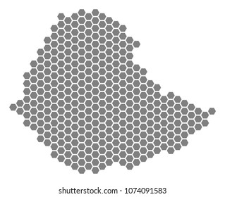 Gray hexagon Ethiopia Map. Vector geographic map in gray color on a white background. Vector composition of Ethiopia Map combined of hexagonal pixels.