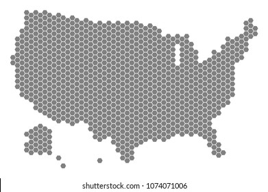 Gray hexagon USA With Alaska Map. Vector geographic map in gray color on a white background. Vector composition of USA With Alaska Map organized of hexagonal elements.